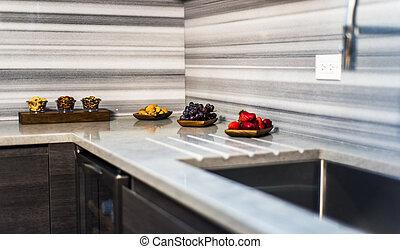 nuovo, moderno, disegno, cucina