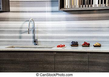nuovo, moderno, su, disegno, chiudere, cucina