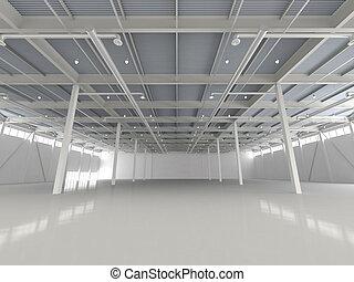 nuovo, moderno, vuoto, magazzino