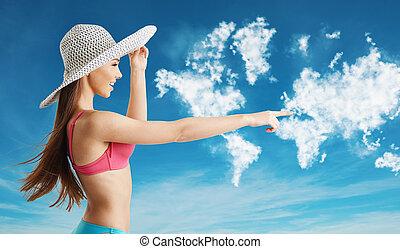 nuovo, orizzonte, tracciato, viaggiare, punti, bikini, donna, ricerca, turista