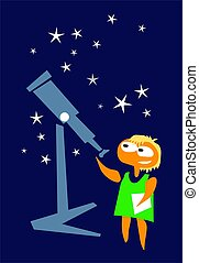 nuovo, ragazza, space., telescopio, ricerca, astronomo, ...