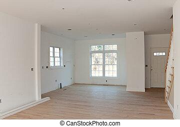 nuovo, residenziale, casa interno, vuoto