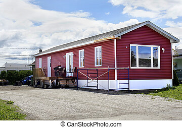 nuovo, rosso, casa mobile