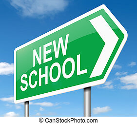 nuovo, scuola, concept.