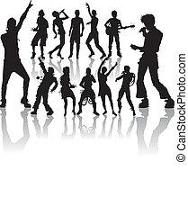 nuovo, set, canto, ballo, persone