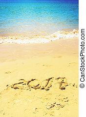 nuovo, spiaggia, anno