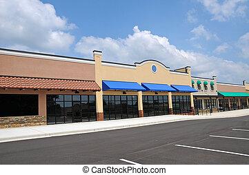 nuovo, spogli edificio molti negozi