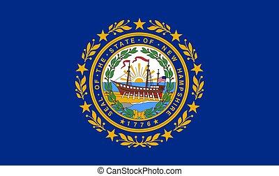 nuovo, stato, hampshire, bandiera usa