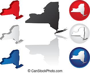 nuovo, stato, york, icone