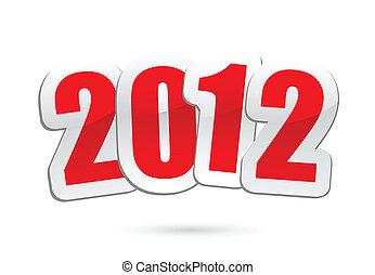 nuovo, vettore, 2012, saluti, anno