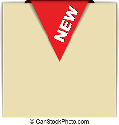 nuovo, vettore, rosso, segno