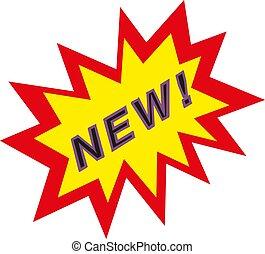 nuovo, vettore, segno, illustrazione, icona