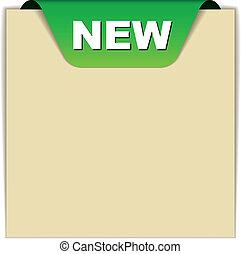 nuovo, vettore, verde, segno