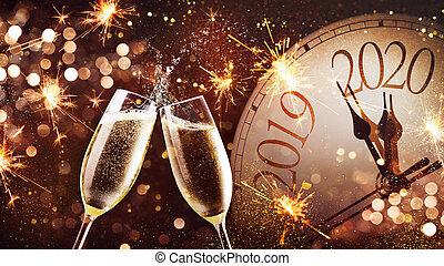 nuovo, vigilia, fondo, anni, celebrazione