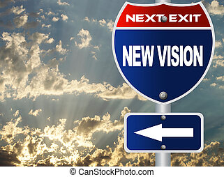 nuovo, visione, segno strada
