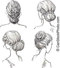 nupcial, hairstyles., conjunto, peinado