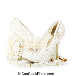 nuptial, chaussures, perles, dentelle