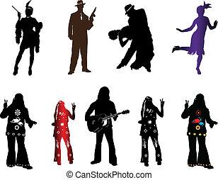 nur, silhouetten, mode, retro, eins