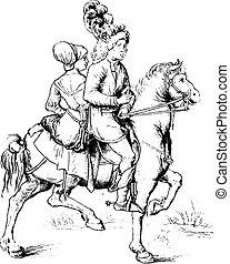 nuremberg, 世紀, 図画, engraving., 型, 学校, 16番目