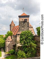 nuremberg, bavière, château, vue