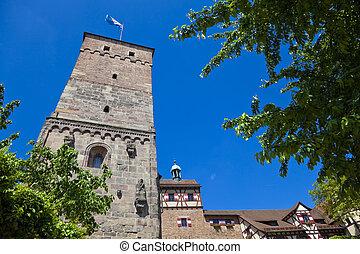 Nuremberg Castle wit the Bavarian Flag - Imperial Castle in ...