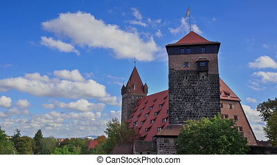 Nuremberg Castle with blue sky and trees timelapse