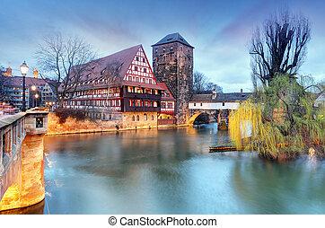 nuremberg, cidade, alemanha, a, riverside, de, pegnitz, rio