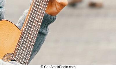 nuremberg, drewniany, grudzień, profesjonalny, gitarzysta, -, skillfully, 1, gitara, ulica, niemcy, 2018:, ulica., siła robocza, akustyczny, interpretacja