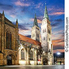 nuremberg, laurencjusz, st., -, niemcy, kościół, zachód słońca