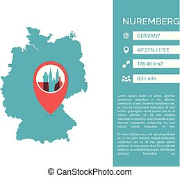 Nuremberg map infographic vector illustration