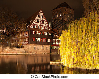 Nuremberg night scene at the river