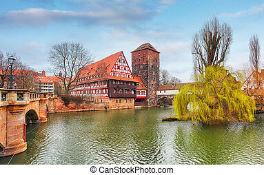 Nuremberg town, Germany, The riverside of Pegnitz river