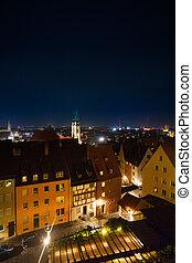 nuremberg, vue, sommet, kaiserburg, nuit