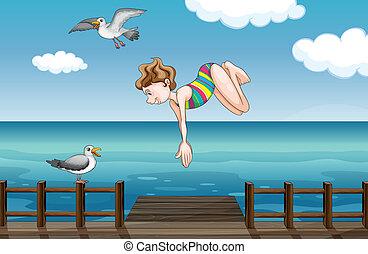 nurkowanie, dziewczyna, młody