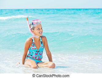 nurkowanie, dziewczyna, szczęśliwy