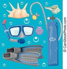 nurkowanie, elementy, scuba, ilustracja