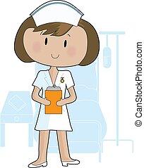 Nurse - A young female nurse holding a clipboard