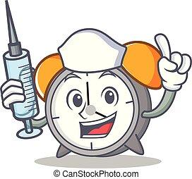 Nurse alarm clock character cartoon
