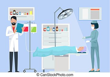 Nurse and Doctor in Operation Vector Illustration