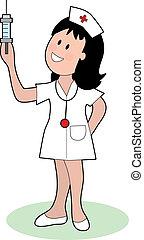Female nurse looking at a syringe she's holding up