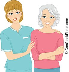 Nurse and Patient - Illustration Featuring a Female Nurse...