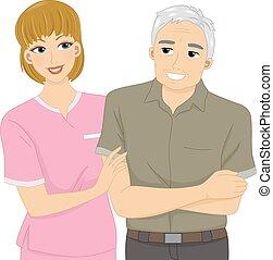 Nurse and Patient - Illustration Featuring a Nurse Assisting...