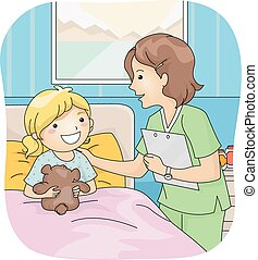 Nurse and Patient - Illustration Featuring a Nurse Attending...