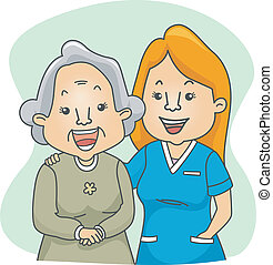 Nurse and Patient - Illustration of a Nurse and Her Elderly...