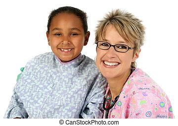 Nurse And Patient - Nurse and patien smiling.