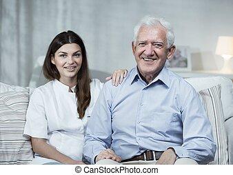 Nurse and senior man