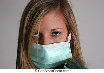 Nurse and surgical mask - A nurse wearing surgical mask