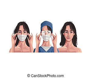 nurse and woman using fase mask ,covid19 protection vector illustration design