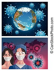 nurse and woman using fase mask with continents maps ,covid19 protection vector illustration design