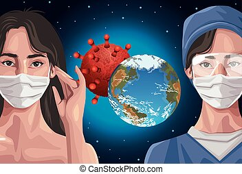 nurse and woman using fase mask with earth planet ,covid19 protection vector illustration design